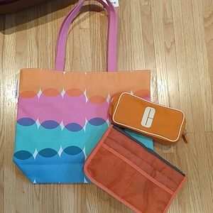New Multicolor Clinique Tote with Accessory Bags